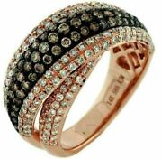 Estate 1.98ct White And Chocolate Fancy Diamond 14kt Rose Gold Classic X Love Ring