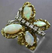 Antique Large 2.30ct Diamond And Opal 14k Two Tone Gold Handcrafted Butterfly Ring