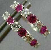 Estate .96ct Diamond And Aaa Pink Sapphire 14kt White Gold Classic Huggie Earrings