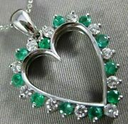 Estate Large 1.21ct Diamond And Aaa Emerald 14kt White Gold Heart Pendant 15600