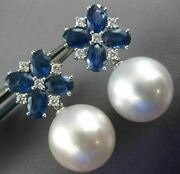 Large 5ct Diamond And Aaa Sapphire South Sea Pearl 18kt White Gold Flower Earrings