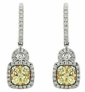 Estate 1.48ct White And Fancy Yellow Diamond 14kt White Gold 3d Hanging Earrings