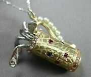 Antique Aaa Sapphire Ruby 14kt White And Yellow Gold Golf Bag Stick Pendant 22044