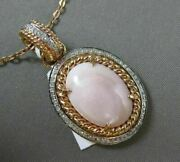 Estate Large .28ct Diamond And Pink Agate 14k Two Tone Gold Rope Oval Halo Pendant