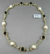 Antique 41.36ct Filigree Circle Onyx And White Sapphire 14kt Yellow Gold Necklace