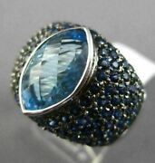 Estate Large 6.99ct Blue Topaz And Sapphire 18kt White Gold 3d Marquise Fun Ring