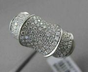 Estate Wide 1.54ct Diamond Pave 18kt White Gold Fancy 3d Bamboo Ring Stunning