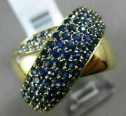Estate Large 2.31ct Aaa Sapphire And Tanzanite 14k Yellow Gold 3d Criss Cross Ring