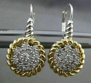 Estate Large .52ct Diamond 14kt White And Yellow Gold 3d Circular Cluster Earrings