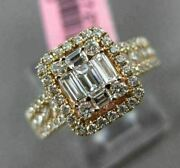Estate Large 1.13ct Round And Baguette Diamond 18kt Rose Gold Halo Engagement Ring