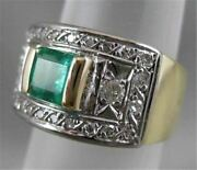 Antique Wide 1.25ctw Old Mine Cut Diamond Emerald 14k Gold Band Ring 12mm 2008