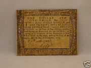 Fine 240 Yr Old Continental Currency 1 And 1/3 Dollars 1775 Maryland Scarce Note