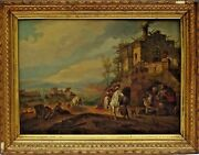 Wonderful Early European School Oil Painting Circa 1876 Dog Horse And Farrier