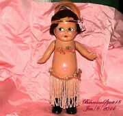 Antique Rare 1915 Kewpie Composition Hula Dancer 18and039and039 Tall Heirloom Flapper Doll