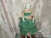Antique Japan 30and039s Bisque Heads Arms Legs Green Satin Dress Miniature Doll