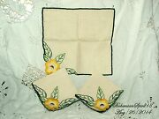 Antique Vintage 3 French Yellow Hand Embroidery Flowers Linens Table Napkin Set