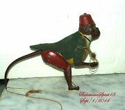 Rare Antique 1900 Tin Monkey Climbing Rope Pull Up String Working Condition Toy