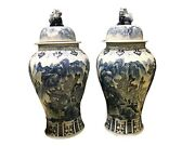 Mansion Size Chinoiserie B And W Porcelain Landscape Ginger Jars - A Pair 36 H