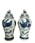 Mansion Size Chinoiserie B And W Porcelain Ginger Jars - A Pair 35 H