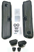 Small Block Ford Black Aluminum Tall Finned Valve Covers Breather And Pcv Kit Sbf