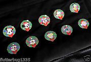 Disney Wdw Christmas Mystery Tin Limited Edition Wreath Full Pin Set - New