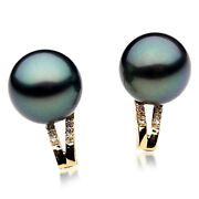 New Pacific Pearlsandreg Tahitian Diamond Black Pearl Earring 13mm Gifts For Yourself