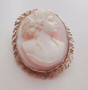 Antique 10k Gold Angel Skin Coral Cameo Beauty Profile Brooch Pin Pendant