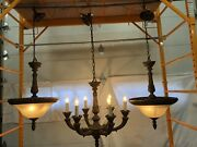 Set Of 3 Reproduction Large Antique Ceiling Lights 6 Arm Chandelier And Dome Type