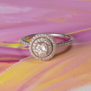 14k White Gold Gia 0.32ct Round Diamond Vs2/f With Double Halo Engagement Ring
