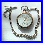 Ww1 Stunning Silver And Gold Omega Keyless Pocket Watch And Albert Chain 1914