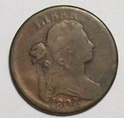 1807 Over 6 Draped Bust Large Cent Overdate Vg+ Free Us Ship 24b52