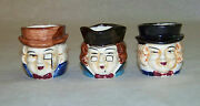 Vintage Set Of 3 - Mini Toby Mugs - Made In Japan Character Colonial Faces