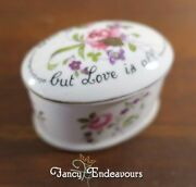 Crown Staffordshire Floral Roses Trinket Box The Gift Is Small But Love Is All