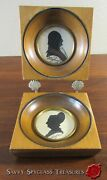 Vintage George And Martha Washington Silhouettes In Maple Wood Frames