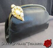 Judith Leiber Crystal And Pearl Fish Clasp Black Snakeskin Purse With Accessories