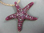 Estate Large 2.97ct Aaa Ruby And Pink Sapphire 18k Rose Gold Star Fish Fun Pendant