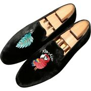 Mens Round Toe Slip On Pleuche Dissymmetry Embroidery Low Heel Casual Shoes News