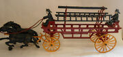19 In Kenton Cast Iron Fire Hook And Ladder Two Horse Drawn Wagon Two Firemen Orig
