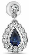 Estate 1.36ct Diamond And Aaa Sapphire 18k White Gold Pear Shape Hanging Earrings