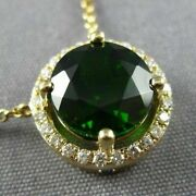Estate Large 2.14ct Diamond And Aaa Green Garnet 14kt Yellow Gold 3d Halo Necklace