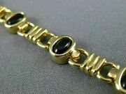 Antique Wide Aaa Black Onyx 14kt Yellow Gold 3d Classic Oval Bracelet 22728