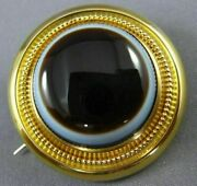 Estate Extra Large 14kt Yellow Gold Evil Eye Baron Rothschild Brooch Pin 26363