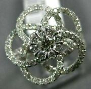 Estate Large 1.35ct Diamond 14kt White Gold 3d Flower Cluster Invisible Fun Ring