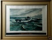 Wwii German U-boat U-3023 Grinning Fox Watercolor Painting And Original Hat Band