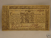 Fine 241 Yr Old Colonial Currency Note 1 April 10 1774 - Annapolis, Maryland