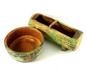 Weller Pottery 2 Piece Lot Woodcraft Pattern Log Planter And Low Bowl