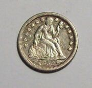 1853-o Arrows Seated Liberty Dime Old Cleaning Sharp Xf++/ Au Free Us Ship 3b29
