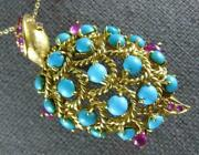 Antique Large 5.0ct Aaa Ruby And Turquoise 18k Yellow Gold Turtle Brooch Pin 1909
