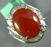 Estate Wide 4.0ct Diamond And Aaa Red Jadeite 14kt White Gold Oval Heart Love Ring