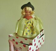 Vintage Nancy Ann Swiss 26 Bisque Doll Box Wrist Tag Pudgy Jointed Legs World